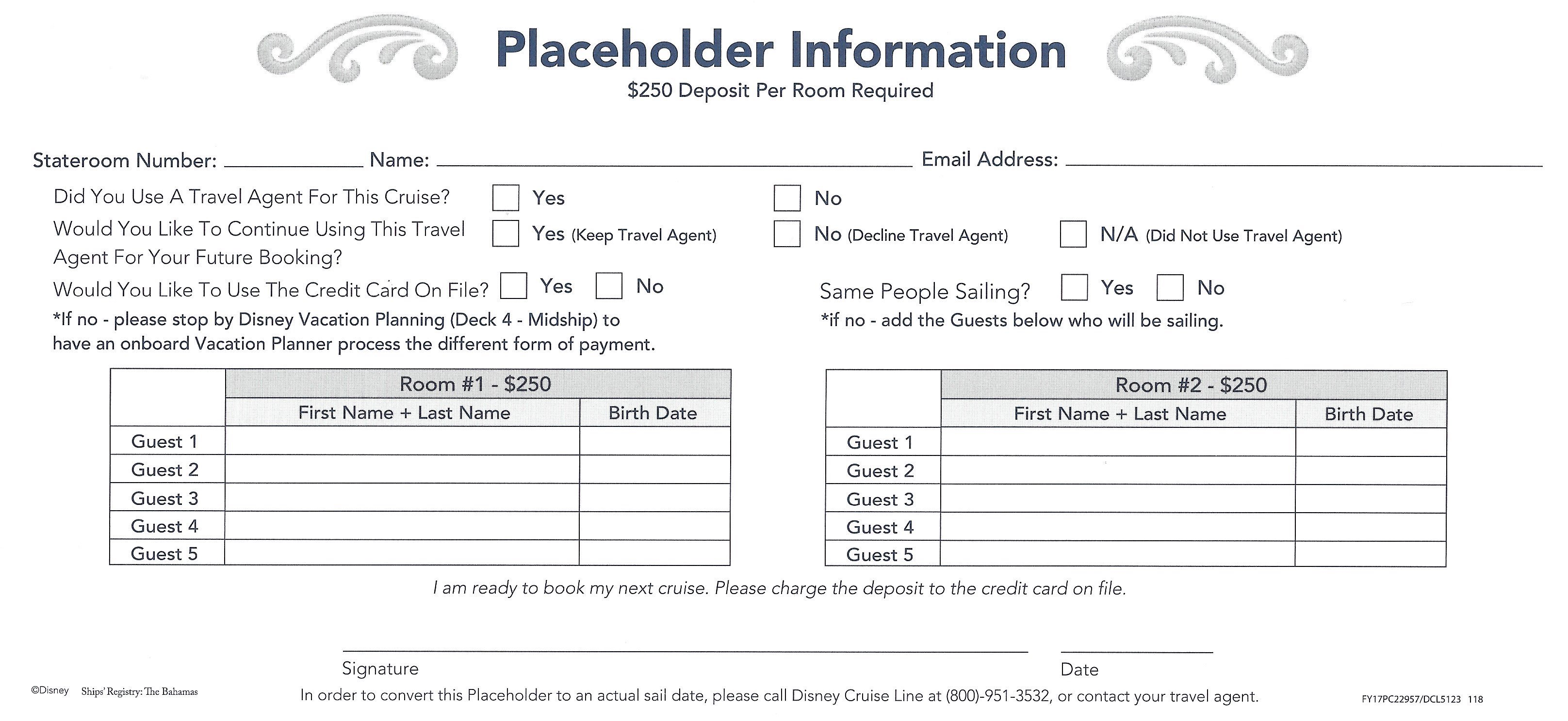 Placeholders & Onboard Bookings – Disney Cruising Group